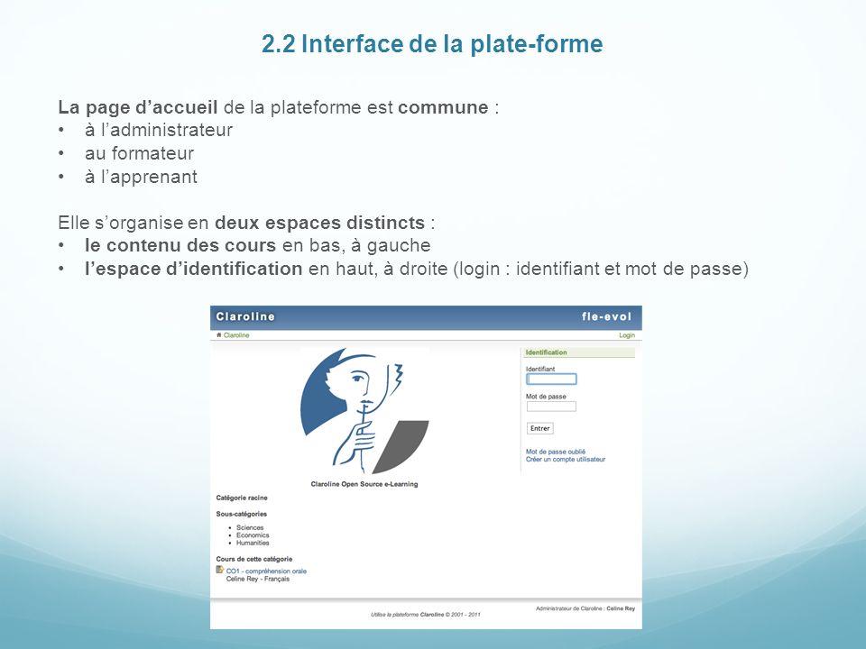 2.2 Interface de la plate-forme La page daccueil de la plateforme est commune : à ladministrateur au formateur à lapprenant Elle sorganise en deux espaces distincts : le contenu des cours en bas, à gauche lespace didentification en haut, à droite (login : identifiant et mot de passe)