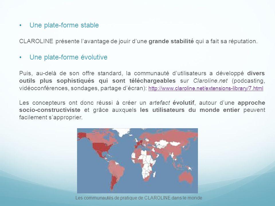 Les communautés de pratique de CLAROLINE dans le monde Une plate-forme stable CLAROLINE présente lavantage de jouir dune grande stabilité qui a fait sa réputation.