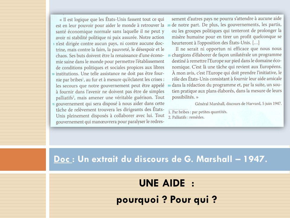 UNE AIDE : pourquoi ? Pour qui ? Doc : Un extrait du discours de G. Marshall – 1947.