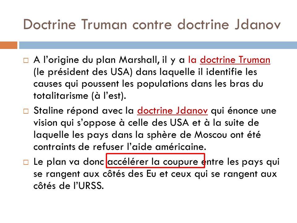 Doctrine Truman contre doctrine Jdanov A lorigine du plan Marshall, il y a la doctrine Truman (le président des USA) dans laquelle il identifie les ca