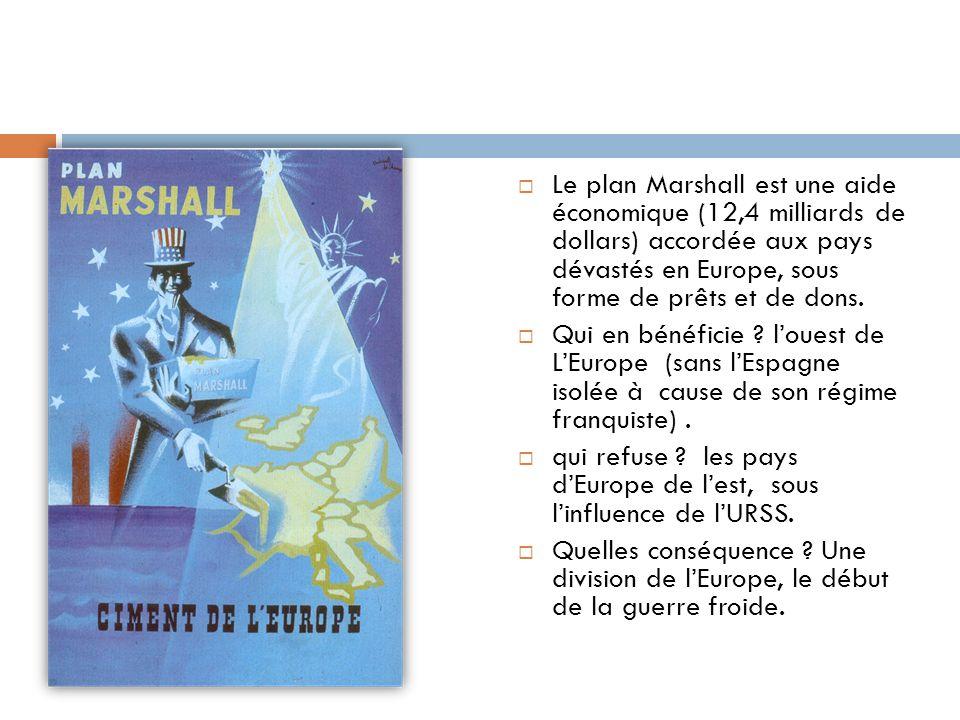 Le plan Marshall est une aide économique (12,4 milliards de dollars) accordée aux pays dévastés en Europe, sous forme de prêts et de dons. Qui en béné