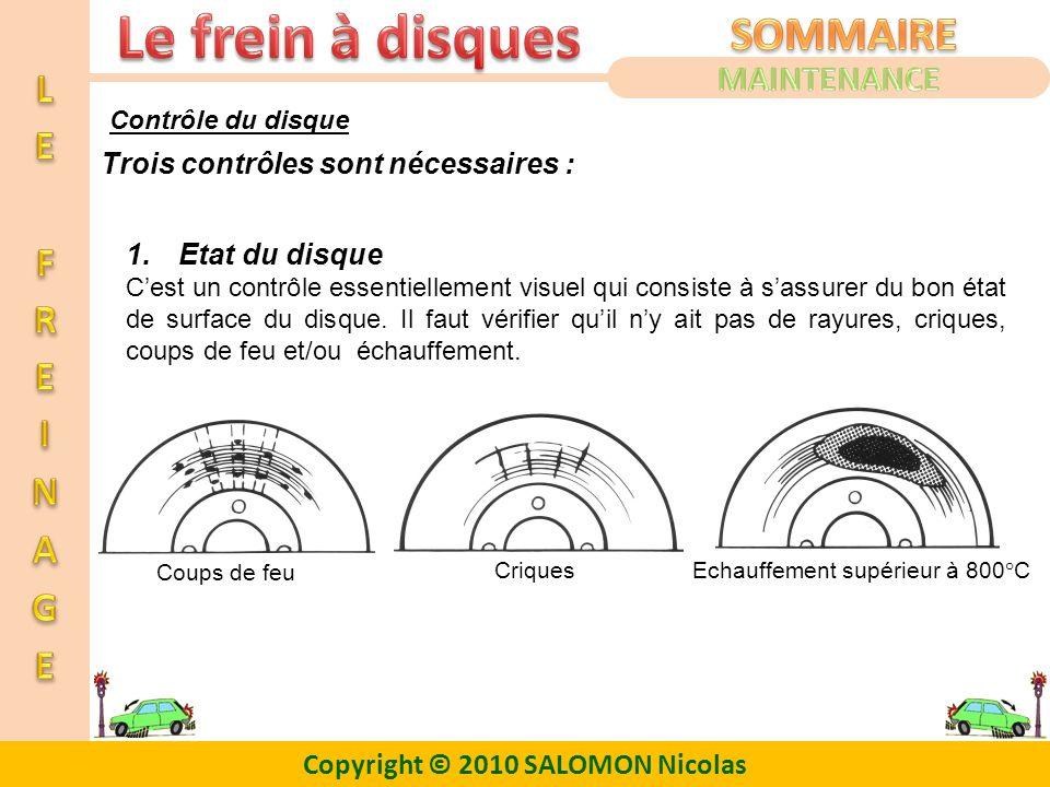 Copyright © 2010 SALOMON Nicolas 1.Etat du disque Cest un contrôle essentiellement visuel qui consiste à sassurer du bon état de surface du disque. Il