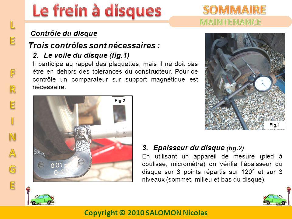 Copyright © 2010 SALOMON Nicolas Contrôle du disque Trois contrôles sont nécessaires : 3.Epaisseur du disque (fig.2) En utilisant un appareil de mesur