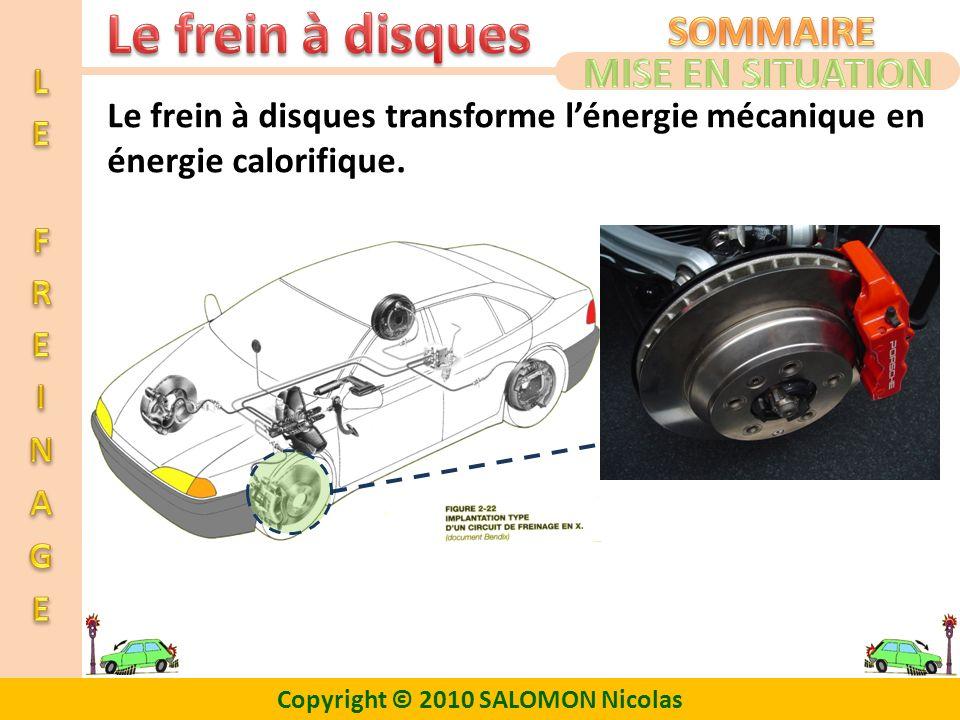 Copyright © 2010 SALOMON Nicolas Le frein à disques transforme lénergie mécanique en énergie calorifique.