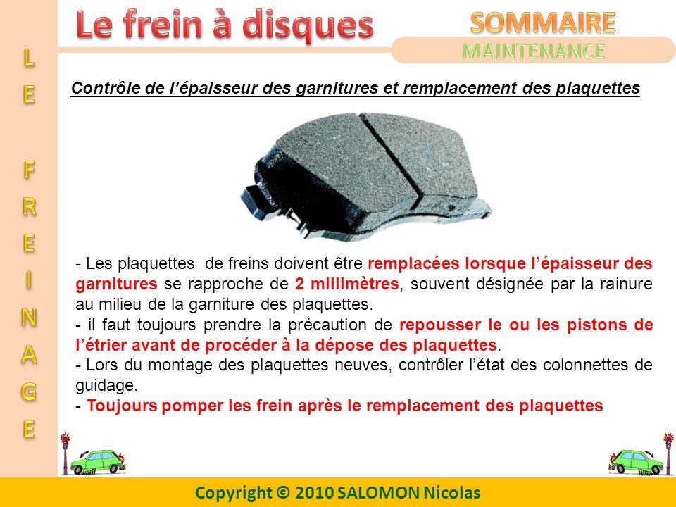 Copyright © 2010 SALOMON Nicolas Contrôle de lépaisseur des garnitures et remplacement des plaquettes - Les plaquettes de freins doivent être remplacé