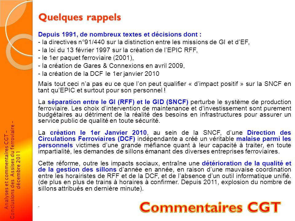 Quelques rappels Depuis 1991, de nombreux textes et décisions dont : - la directives n°91/440 sur la distinction entre les missions de GI et dEF, - la
