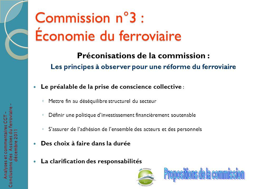 Commission n°3 : Économie du ferroviaire Préconisations de la commission : Les principes à observer pour une réforme du ferroviaire Le préalable de la