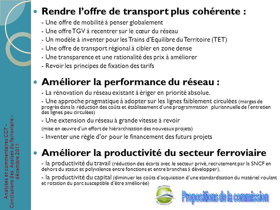 Rendre loffre de transport plus cohérente : - Une offre de mobilité à penser globalement - Une offre TGV à recentrer sur le cœur du réseau - Un modèle