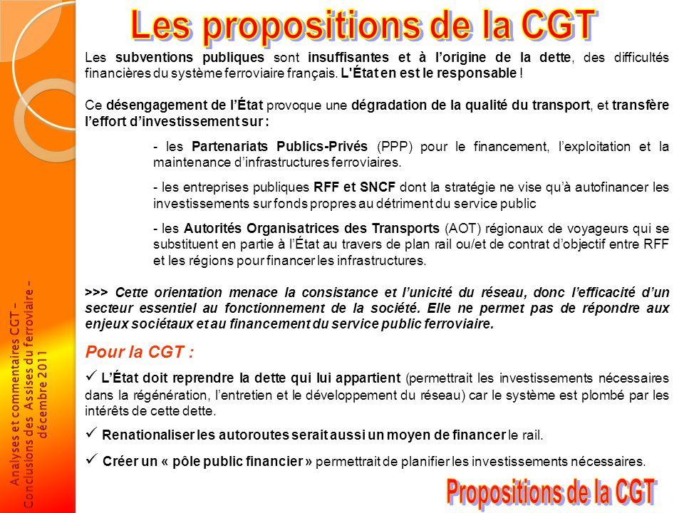 Les subventions publiques sont insuffisantes et à lorigine de la dette, des difficultés financières du système ferroviaire français. L'État en est le