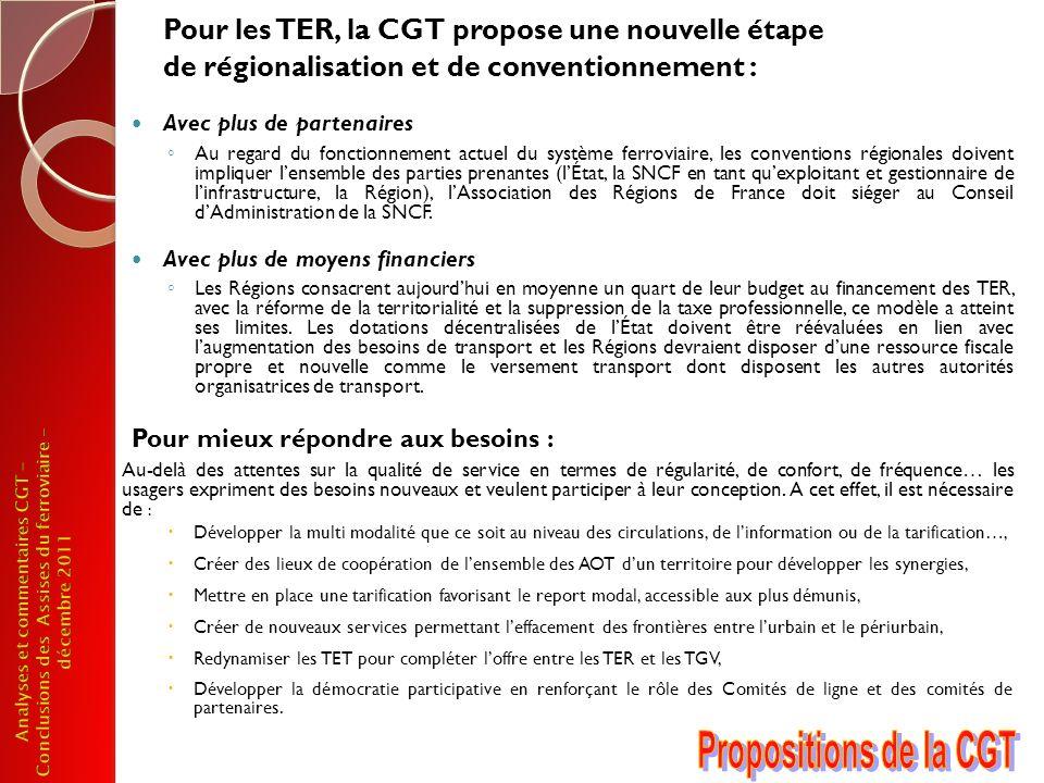 Pour les TER, la CGT propose une nouvelle étape de régionalisation et de conventionnement : Avec plus de partenaires Au regard du fonctionnement actue