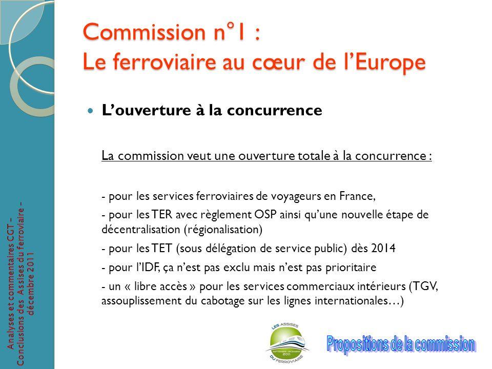 Commission n°1 : Le ferroviaire au cœur de lEurope Louverture à la concurrence La commission veut une ouverture totale à la concurrence : - pour les s
