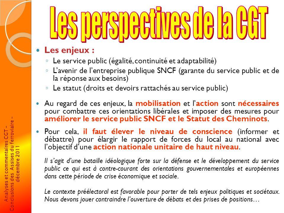 Les enjeux : Le service public (égalité, continuité et adaptabilité) Lavenir de lentreprise publique SNCF (garante du service public et de la réponse