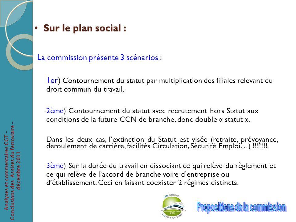 Sur le plan social : Sur le plan social : La commission présente 3 scénarios : 1er) Contournement du statut par multiplication des filiales relevant d