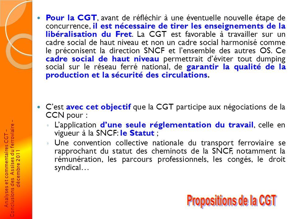 Pour la CGT, avant de réfléchir à une éventuelle nouvelle étape de concurrence, il est nécessaire de tirer les enseignements de la libéralisation du F