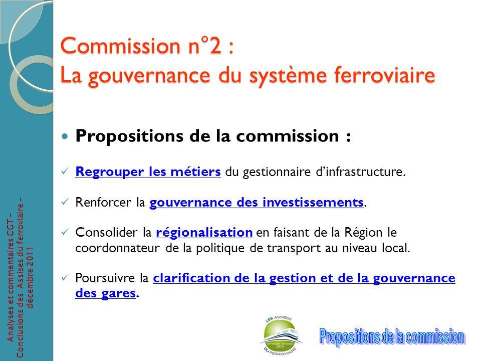 Commission n°2 : La gouvernance du système ferroviaire Propositions de la commission : Regrouper les métiers du gestionnaire dinfrastructure. Renforce