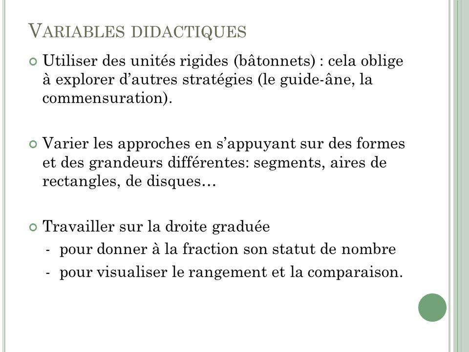 V ARIABLES DIDACTIQUES Utiliser des unités rigides (bâtonnets) : cela oblige à explorer dautres stratégies (le guide-âne, la commensuration). Varier l