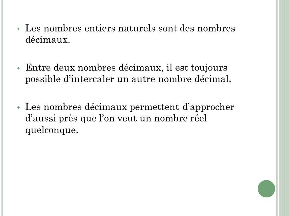 Les nombres entiers naturels sont des nombres décimaux. Entre deux nombres décimaux, il est toujours possible dintercaler un autre nombre décimal. Les
