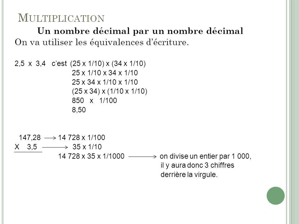 M ULTIPLICATION Un nombre décimal par un nombre décimal On va utiliser les équivalences décriture. 2,5 x 3,4 cest (25 x 1/10) x (34 x 1/10) 25 x 1/10