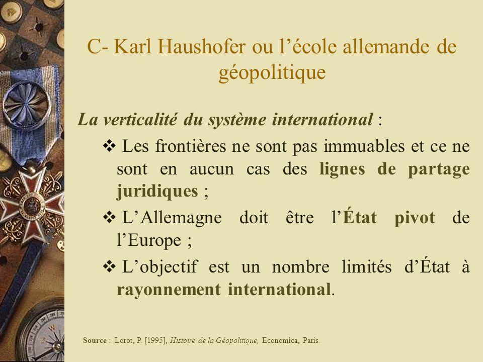 C- Karl Haushofer ou lécole allemande de géopolitique La verticalité du système international : Les frontières ne sont pas immuables et ce ne sont en