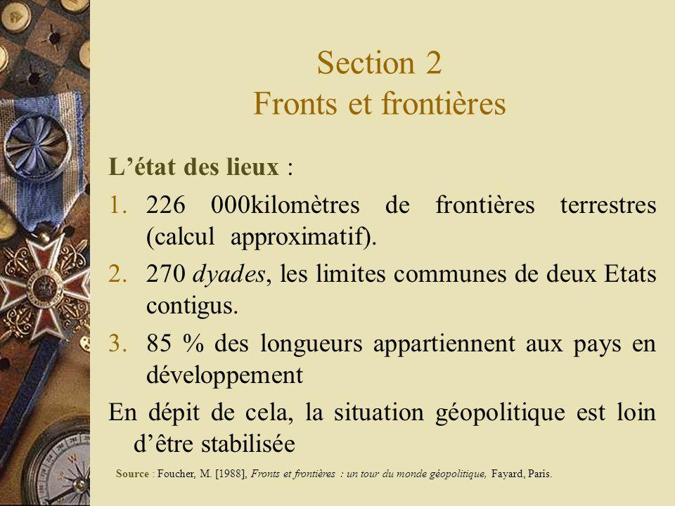 Section 2 Fronts et frontières Létat des lieux : 1.226 000kilomètres de frontières terrestres (calcul approximatif). 2.270 dyades, les limites commune
