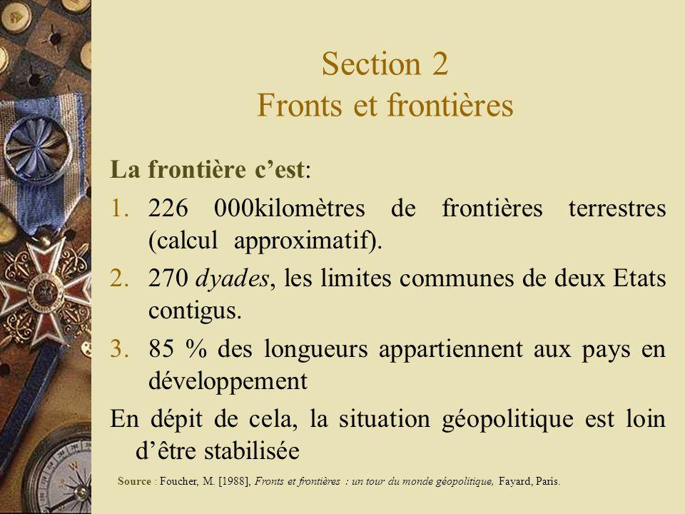 Section 2 Fronts et frontières La frontière cest: 1.226 000kilomètres de frontières terrestres (calcul approximatif). 2.270 dyades, les limites commun