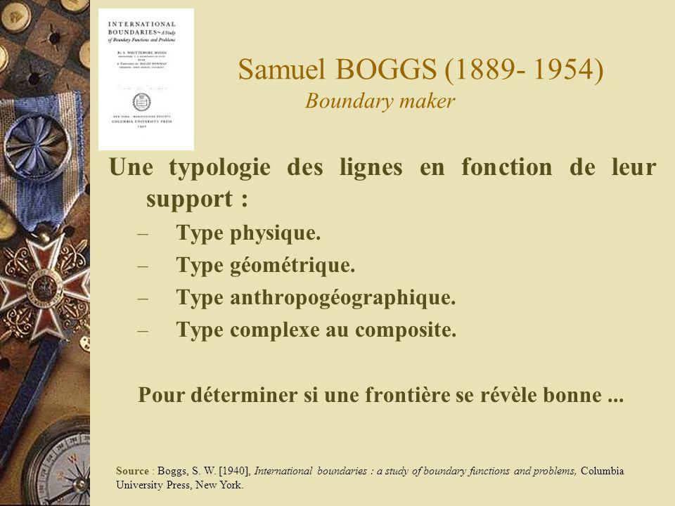 Samuel BOGGS (1889- 1954) Boundary maker Une typologie des lignes en fonction de leur support : – Type physique. – Type géométrique. – Type anthropogé