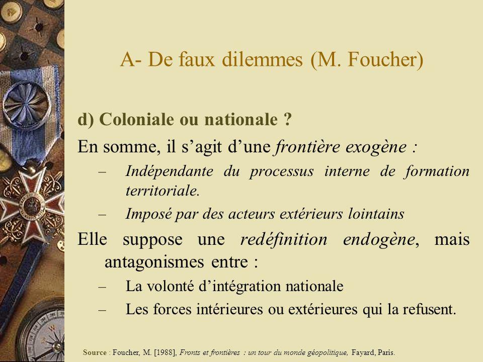 A- De faux dilemmes (M. Foucher) d) Coloniale ou nationale ? En somme, il sagit dune frontière exogène : – Indépendante du processus interne de format
