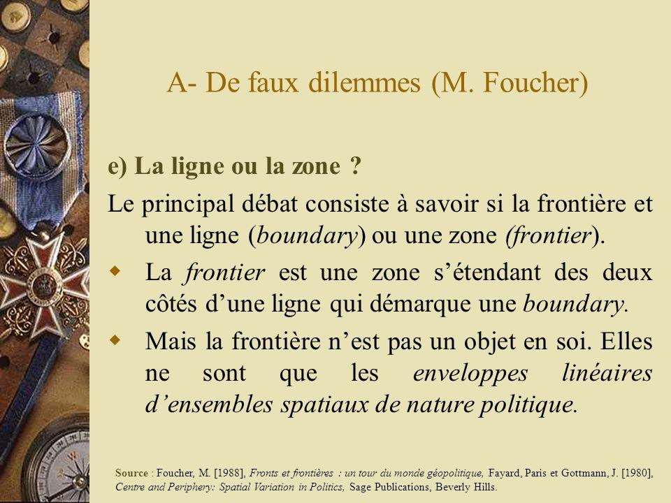 A- De faux dilemmes (M. Foucher) e) La ligne ou la zone ? Le principal débat consiste à savoir si la frontière et une ligne (boundary) ou une zone (fr