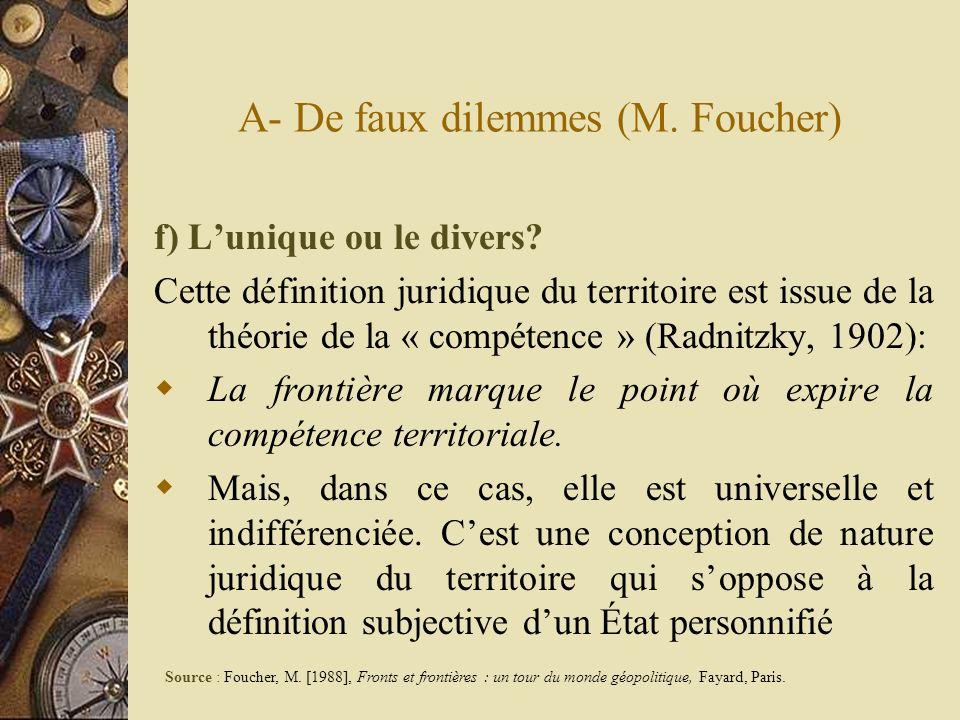 A- De faux dilemmes (M. Foucher) f) Lunique ou le divers? Cette définition juridique du territoire est issue de la théorie de la « compétence » (Radni