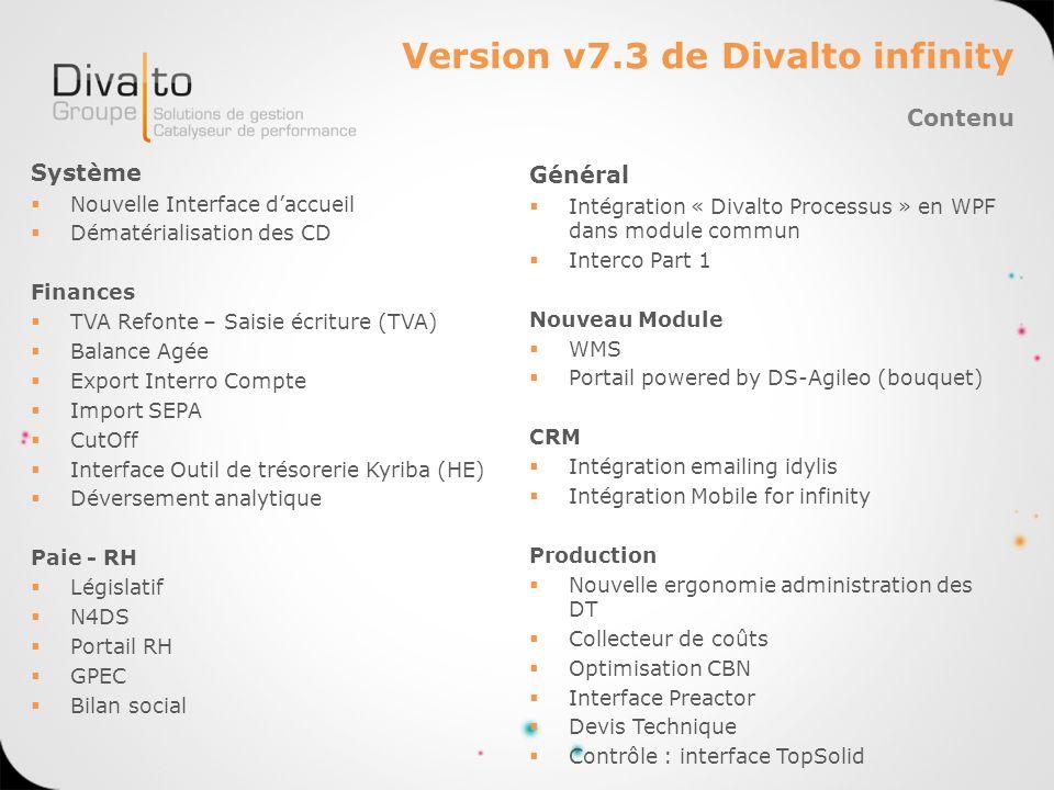 Version v7.3 de Divalto infinity Système Nouvelle Interface daccueil Dématérialisation des CD Finances TVA Refonte – Saisie écriture (TVA) Balance Agé