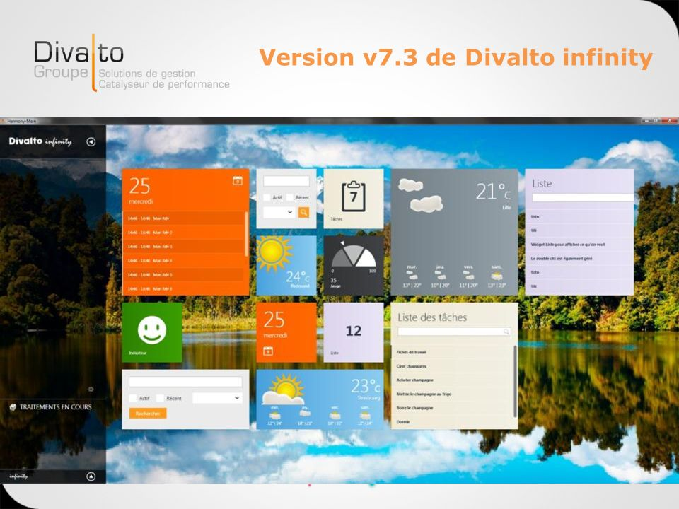 Version v7.3 de Divalto infinity Quelques extraits …