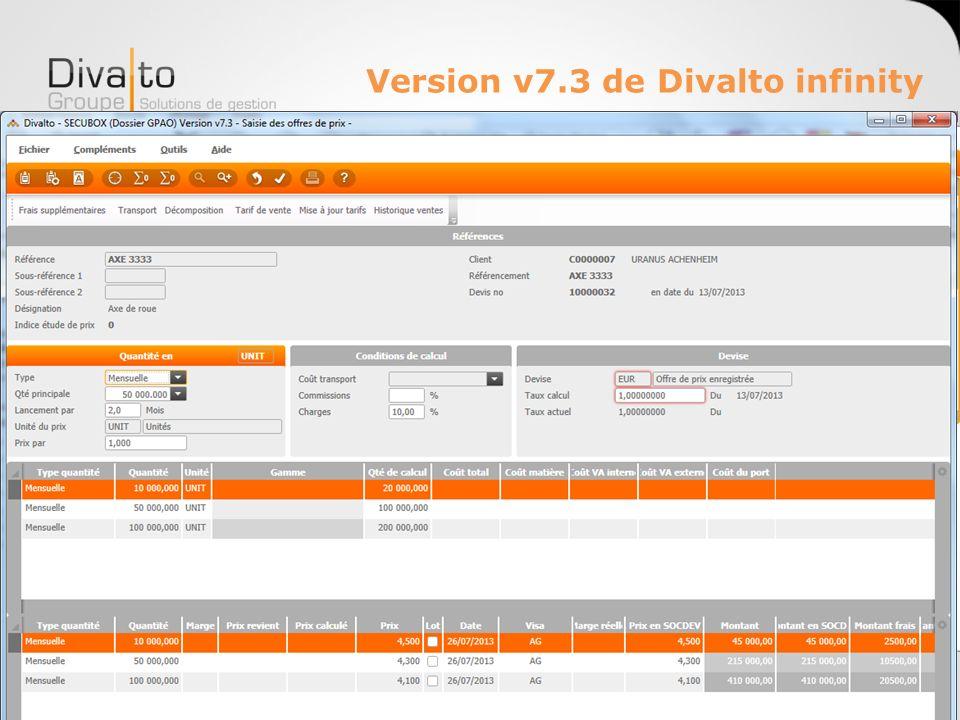 Version v7.3 de Divalto infinity Des nouvelles ergonomies pour de nouveaux traitements