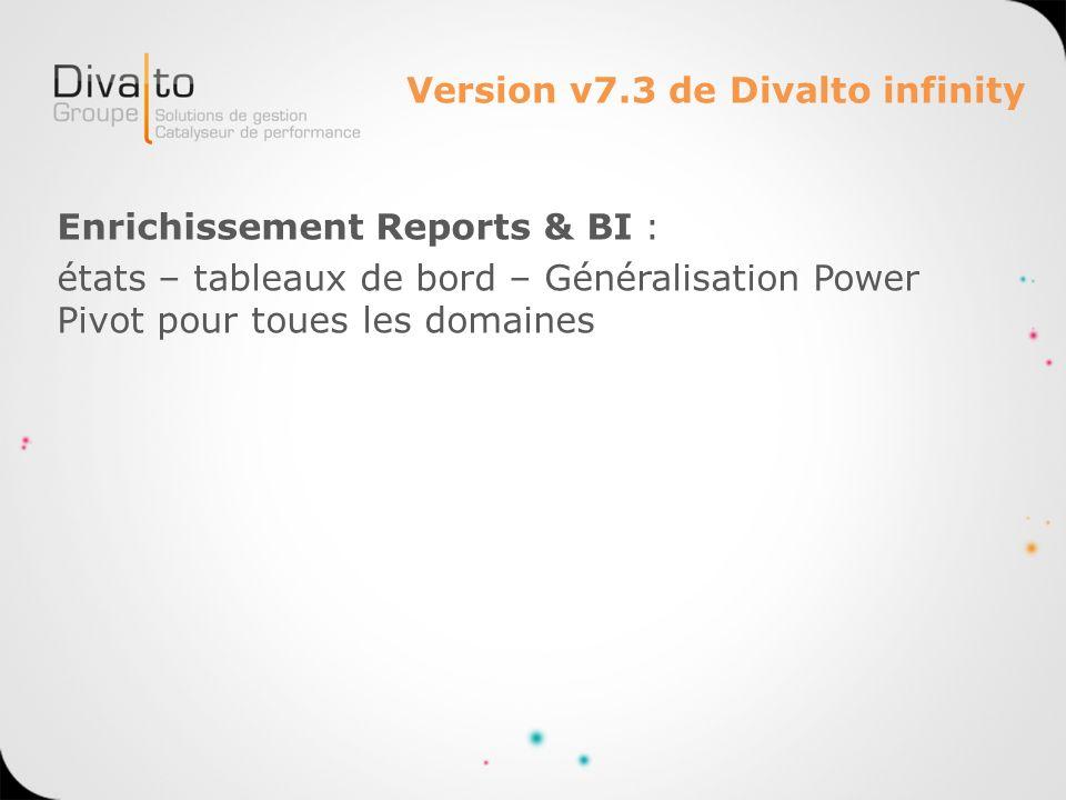 Version v7.3 de Divalto infinity Enrichissement Reports & BI : états – tableaux de bord – Généralisation Power Pivot pour toues les domaines