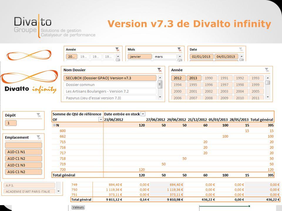 Version v7.3 de Divalto infinity Généralisation de Power Pivot Standard : Exemples
