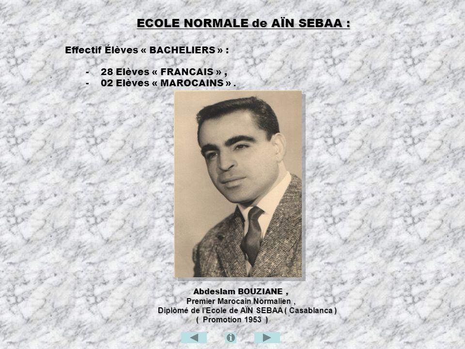 ECOLE NORMALE de AÏN SEBAA : Effectif Élèves « BACHELIERS » : - 28 Elèves « FRANCAIS », - 02 Elèves « MAROCAINS ». Abdeslam BOUZIANE, Abdeslam BOUZIAN