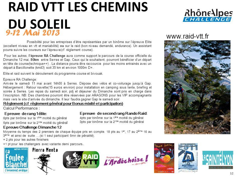 RAID VTT LES CHEMINS DU SOLEIL 9-12 Mai 2013 Possibilité pour les entreprises dêtre représentées par un binôme sur lépreuve Elite (excellent niveau en
