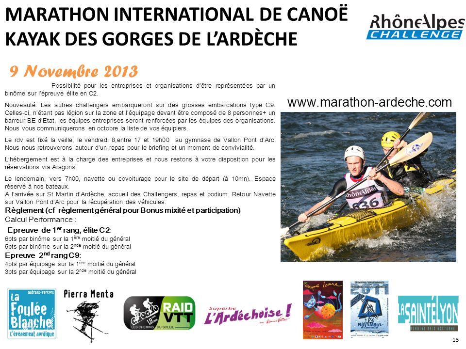 MARATHON INTERNATIONAL DE CANOË KAYAK DES GORGES DE LARDÈCHE 9 Novembre 2013 Possibilité pour les entreprises et organisations dêtre représentées par