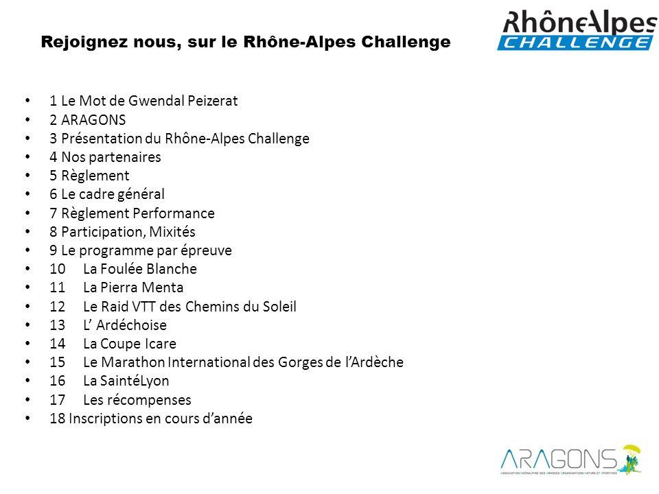 1 Le Mot de Gwendal Peizerat 2 ARAGONS 3 Présentation du Rhône-Alpes Challenge 4 Nos partenaires 5 Règlement 6 Le cadre général 7 Règlement Performanc
