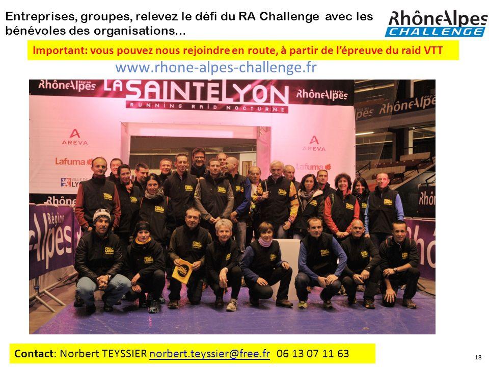 Entreprises, groupes, relevez le défi du RA Challenge avec les bénévoles des organisations... Contact: Norbert TEYSSIER norbert.teyssier@free.fr 06 13