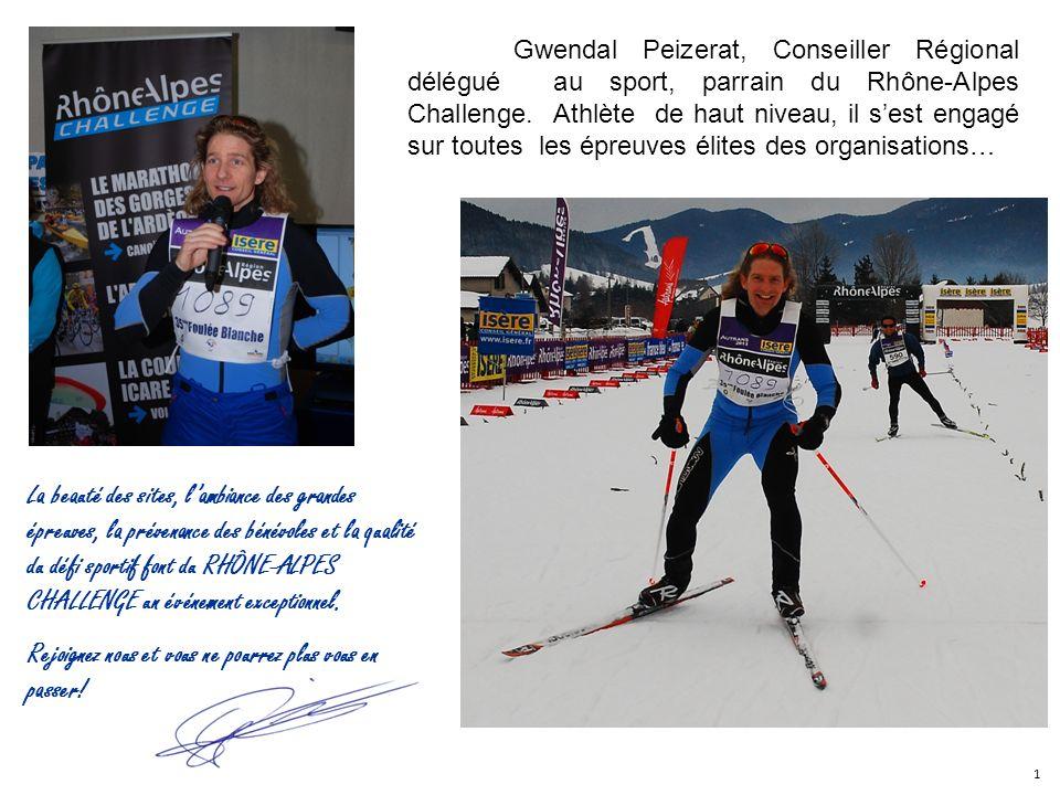 Gwendal Peizerat, Conseiller Régional délégué au sport, parrain du Rhône-Alpes Challenge. Athlète de haut niveau, il sest engagé sur toutes les épreuv