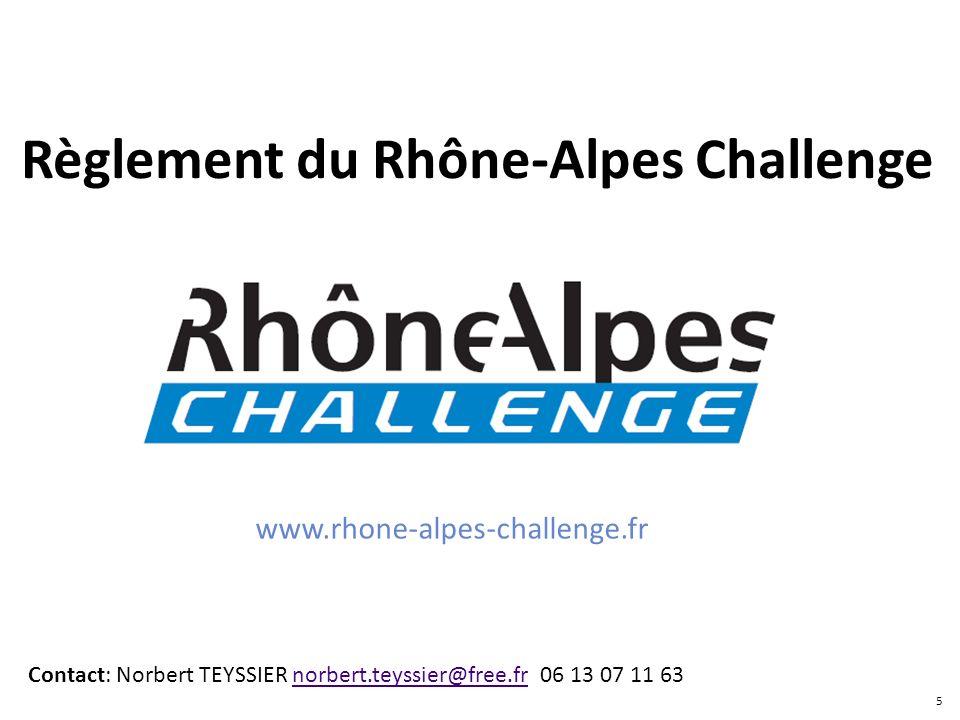 Règlement du Rhône-Alpes Challenge Contact: Norbert TEYSSIER norbert.teyssier@free.fr 06 13 07 11 63norbert.teyssier@free.fr www.rhone-alpes-challenge