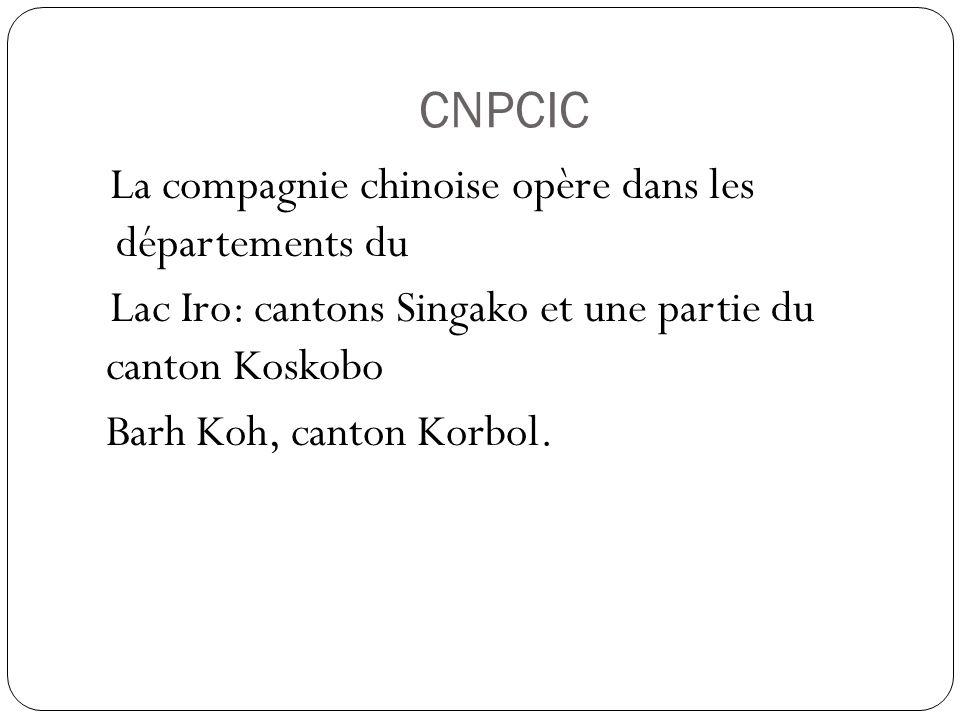 CNPCIC La compagnie chinoise opère dans les départements du Lac Iro: cantons Singako et une partie du canton Koskobo Barh Koh, canton Korbol.