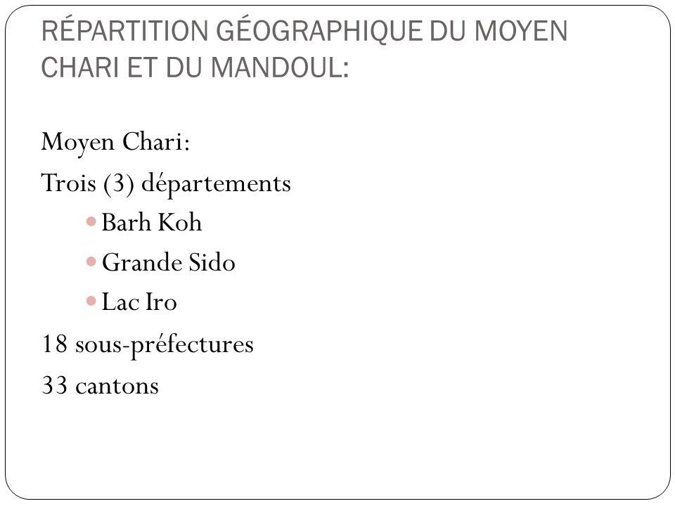 RÉPARTITION GÉOGRAPHIQUE DU MOYEN CHARI ET DU MANDOUL: Moyen Chari: Trois (3) départements Barh Koh Grande Sido Lac Iro 18 sous-préfectures 33 cantons