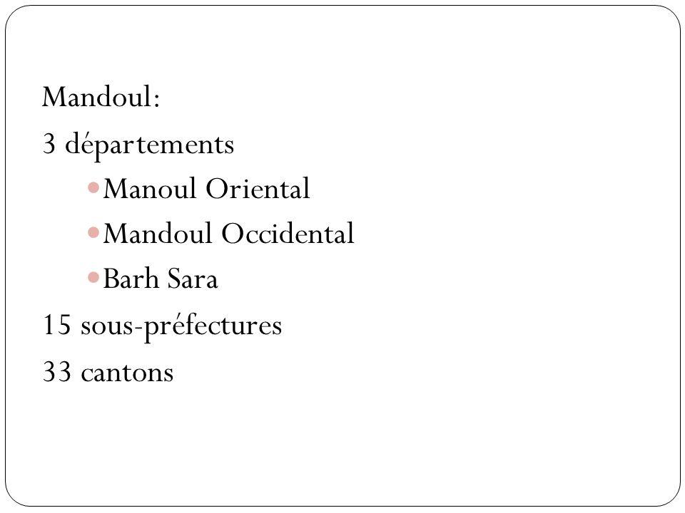 Mandoul: 3 départements Manoul Oriental Mandoul Occidental Barh Sara 15 sous-préfectures 33 cantons