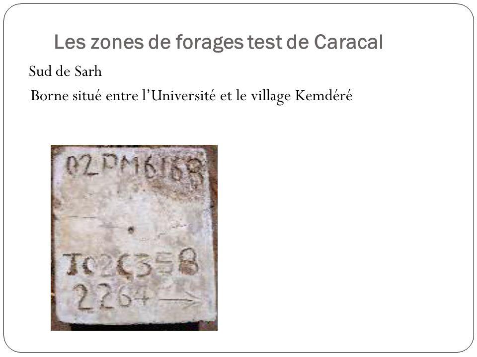 Les zones de forages test de Caracal Sud de Sarh Borne situé entre lUniversité et le village Kemdéré