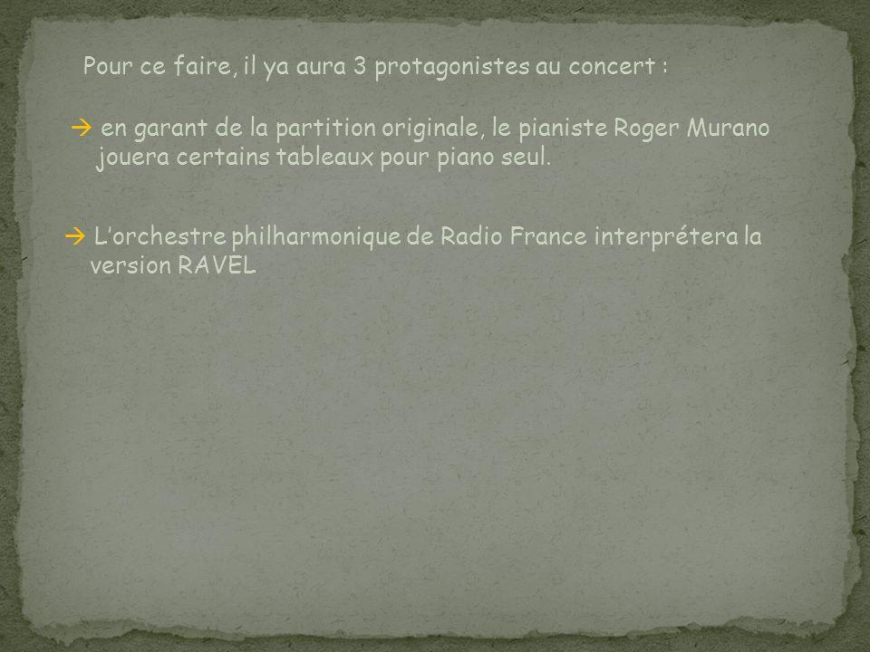 Pour ce faire, il ya aura 3 protagonistes au concert : en garant de la partition originale, le pianiste Roger Murano jouera certains tableaux pour pia