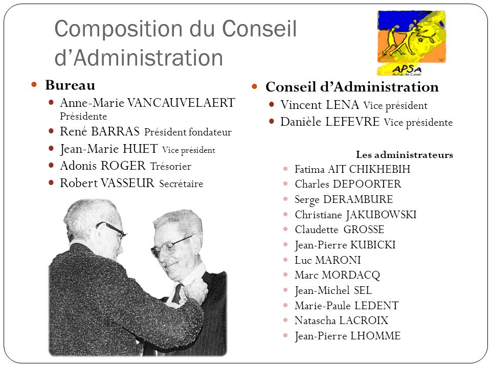 Composition du Conseil dAdministration Bureau Anne-Marie VANCAUVELAERT Présidente René BARRAS Président fondateur Jean-Marie HUET Vice président Adoni