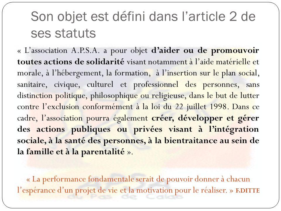 Son objet est défini dans larticle 2 de ses statuts « Lassociation A.P.S.A. a pour objet daider ou de promouvoir toutes actions de solidarité visant n