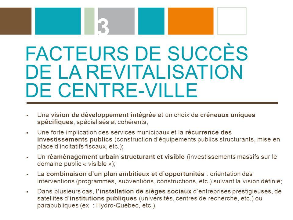 FACTEURS DE SUCCÈS DE LA REVITALISATION DE CENTRE-VILLE 3 Une vision de développement intégrée et un choix de créneaux uniques spécifiques, spécialisé