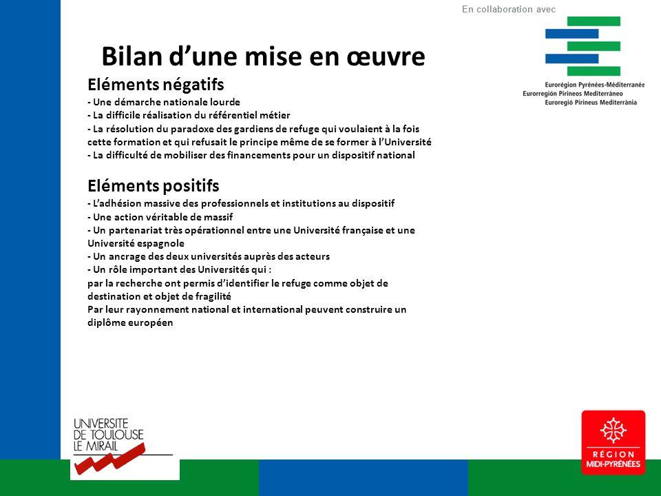 Bilan dune mise en œuvre Eléments négatifs - Une démarche nationale lourde - La difficile réalisation du référentiel métier - La résolution du paradox